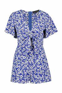Womens Daisy Print Knot Front Playsuit - blue - L, Blue