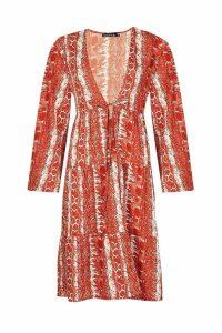 Womens Snake Print Tiered Kimono - orange - M, Orange