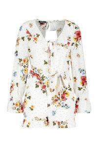 Womens Floral Tie Front Playsuit - white - 16, White