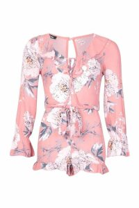 Womens Ruffle Floral Playsuit - pink - 16, Pink