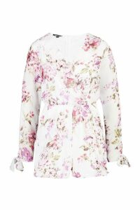 Womens Floral Plunge Playsuit - white - 16, White