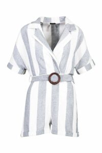 Womens Linen Stripe Tailored Belted Playsuit - blue - 14, Blue