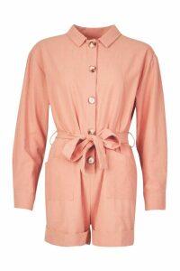 Womens Button Through Shirt Utility Playsuit - pink - 12, Pink