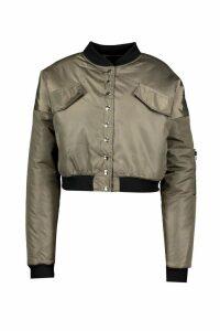 Womens Popper Detail Bomber Jacket - green - 10, Green