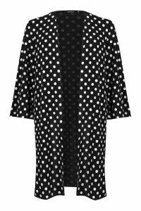 Womens Polka Dot Maxi Kimono - black - M, Black