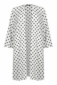 Womens Polka Dot Maxi Kimono - white - M, White