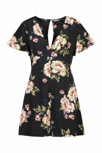 Womens Floral Flippy Woven Playsuit - black - L, Black