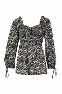 Womens Shirred Body Blouson Sleeve Playsuit - black - 14, Black