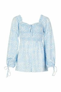 Womens Shirred Body Blouson Sleeve Playsuit - blue - 14, Blue
