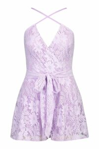 Womens Lace Wrap Front Belted Playsuit - purple - 14, Purple