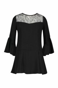 Womens Lace Panel Flare Sleeve Playsuit - black - L, Black