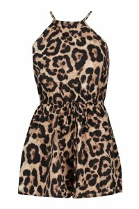 Womens Leopard Strappy Playsuit - black - 16, Black