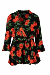Womens Rose Floral Wrap Ruffle Hem Playsuit - black - 16, Black
