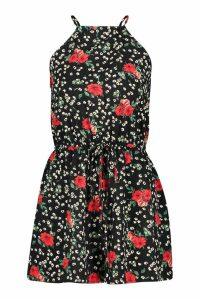 Womens Floral Strappy Playsuit - black - 14, Black