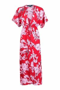Womens Oversized Floral Maxi Kimono - red - S, Red