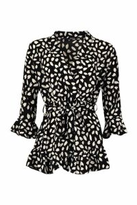 Womens Smudge Print Ruffle Wrap Playsuit - black - 16, Black
