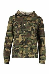 Womens Hooded Oversized Camo Denim Jacket - multi - 12, Multi
