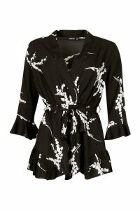 Womens Floral Ruffle Wrap Playsuit - black - 14, Black