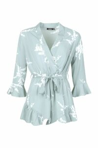 Womens Floral Ruffle Wrap Playsuit - green - 16, Green