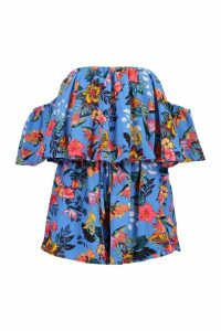 Womens Bardot Floral Floaty Playsuit - blue - 8, Blue