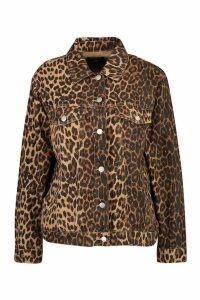 Womens Leopard Oversized Denim Jacket - brown - 12, Brown