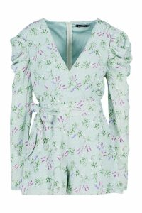 Womens Floral Puff Sleeve Wrap Front Playsuit - green - 16, Green