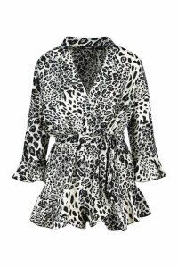 Womens Leopard Mix Print Ruffle Wrap Playsuit - black - 16, Black