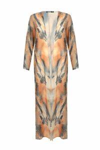 Womens Maxi Tie Dye Kimono - orange - M, Orange