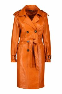 Womens Faux Leather Trench Coat - orange - 12, Orange