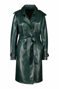 Womens Faux Leather Trench Coat - green - 14, Green
