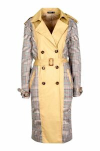 Womens Check Panel Trench Coat - beige - 10, Beige