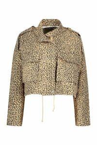Womens Leopard Print Utility Jacket - beige - 10, Beige