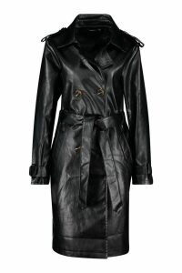 Womens Faux Leather Trench Coat - black - 14, Black