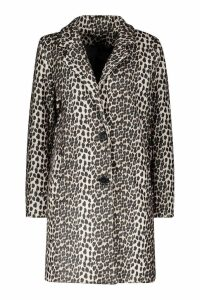 Womens Leopard Wool Look Coat - beige - 8, Beige