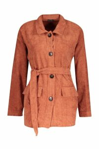 Womens Cord Utility Jacket - brown - S, Brown