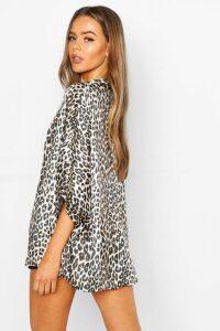 Womens Satin Leopard Kimono - beige - M/L, Beige