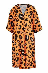 Womens Leopard Print Midi Kimono - orange - M/L, Orange