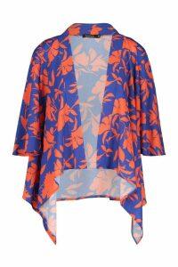 Womens Floral Print Swing Kimono - orange - M, Orange