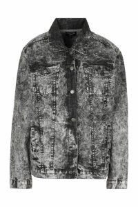 Womens Acid Wash Oversized Denim Jacket - black - M, Black