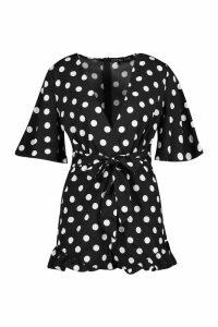 Womens Polka Dot Ruffle Hem Playsuit - black - S, Black