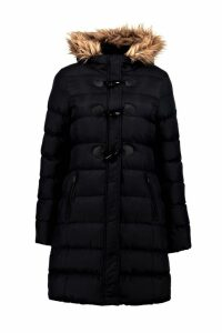 Womens Quilted Faux Fur Hood Parka - black - 16, Black