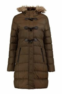 Womens Quilted Faux Fur Hood Parka - green - 16, Green