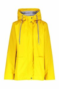 Womens PU Coated Hooded Rain Mac - yellow - 16, Yellow