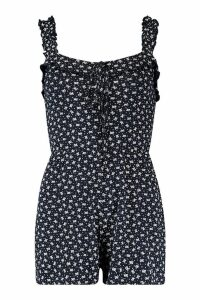 Womens Ditsy Floral Frill Playsuit - navy - 14, Navy