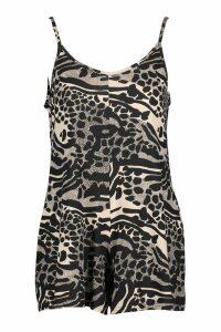 Womens Giraffe Print Swing Playsuit - black - 8, Black