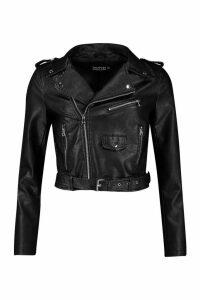 Womens PU Biker Jacket - black - XL, Black