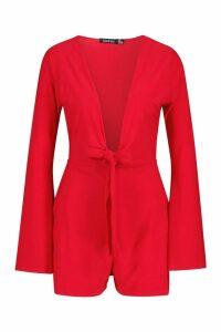 Womens Tie Waist Plunge Playsuit - red - 14, Red