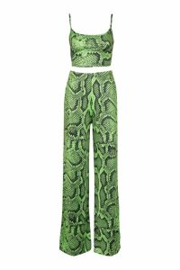 Womens Snake Print Neon Strappy Top & Wide Leg Co-Ord - green - 12, Green