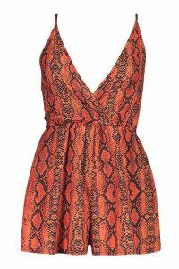 Womens Backless Halterneck Snake Print Playsuit - orange - 14, Orange