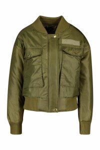 Womens Pocket Detail Bomber Jacket - green - 10, Green